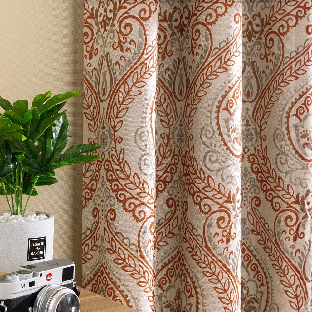 jinchan Linen Textured Curtains for Bedroom Damask Printed Drapes Vintage Linen Blend Medallion Curtain Panels Window Treatments for Living Room Patio Door 1 Pair 54 inches Long Terra Cotta