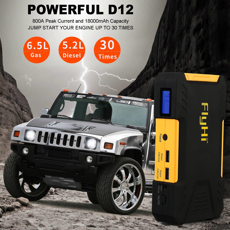 FlyHi D12 Arrancador de Coche 800A 18000mAh Arranque de Batería para Coche (Motor de 6,5L Gas o el 5,2L Diesel) Banco de Energía Portable y Acelerador de ...
