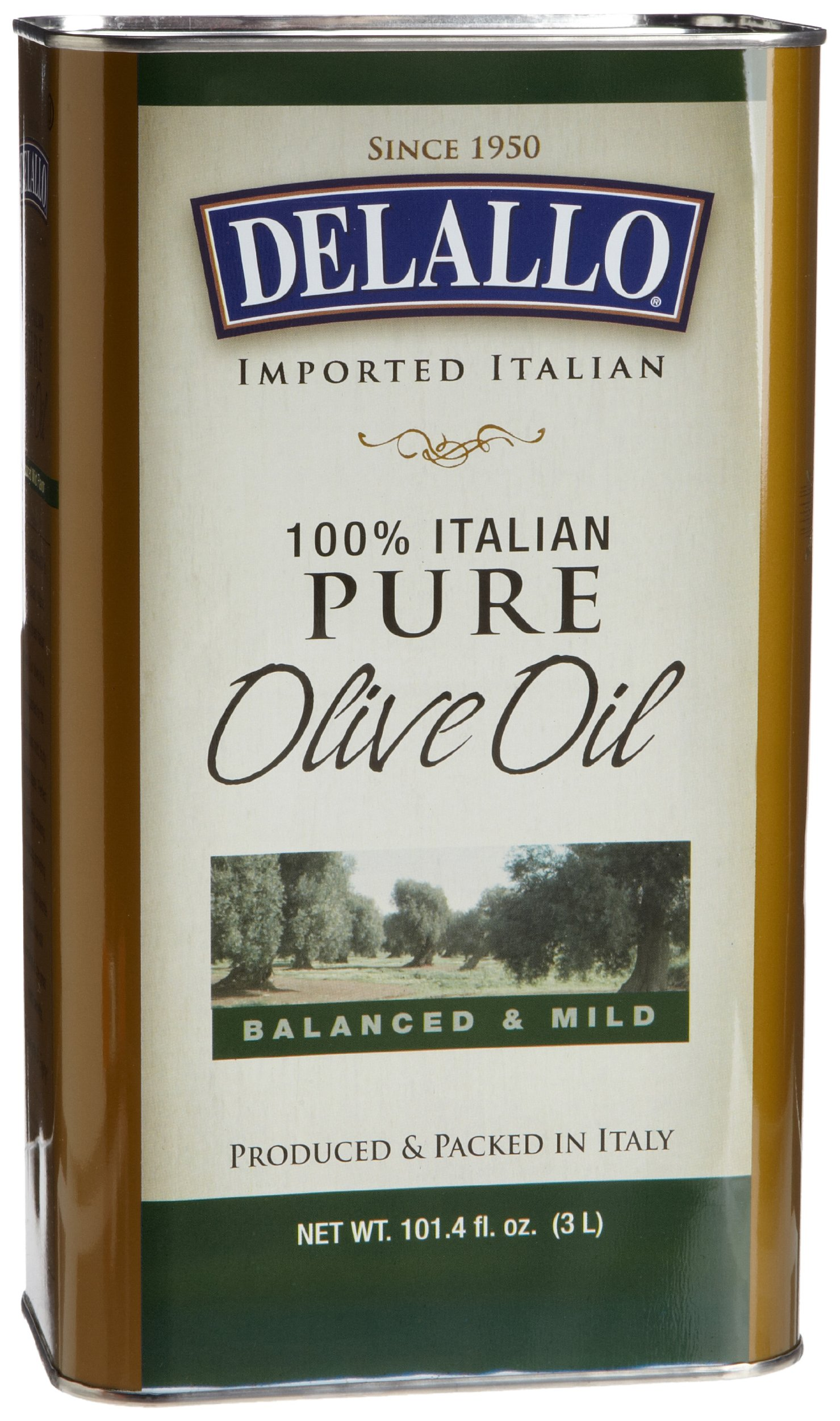 DeLallo Pure Olive Oil, 3-Liter Cans (Pack of 4)