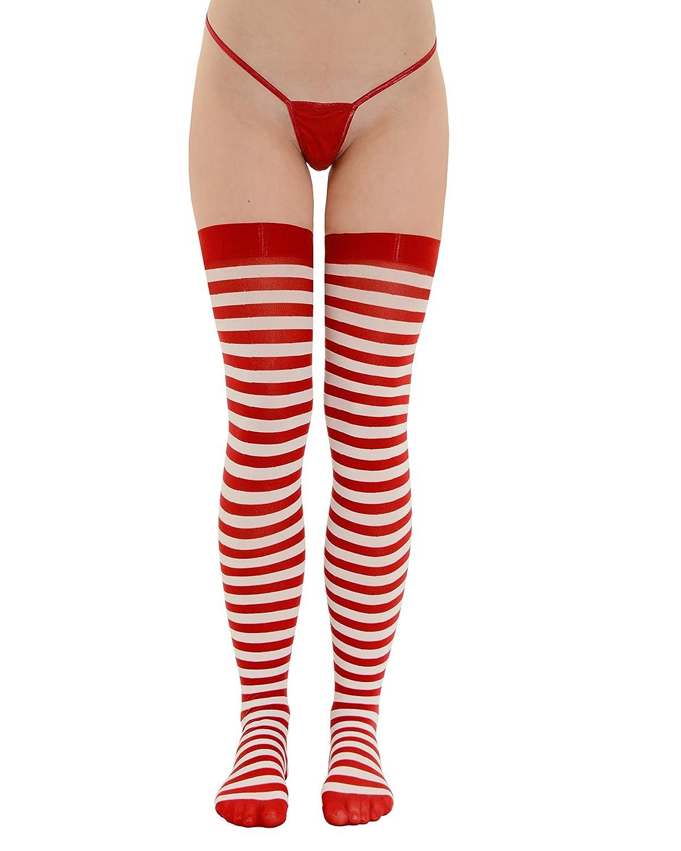 Summitfashions Womens Thigh High Stockings Red and White Striped Socks Thigh High Hosiery