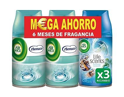 Air Wick Freshmatic Ambientador de Recambio Olor Nenuco y Oasis Turquesa - Pack de 3 x