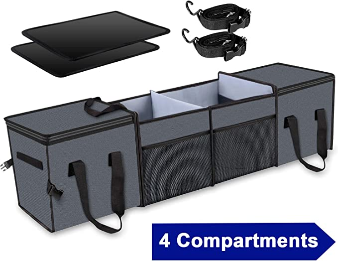 X-cosrack Car Trunk Organizer ,Storage with Insulation Cooler Bags for SUV,Truck,Automotive,Van,Cargo Collapsible Portable Multi Compartments with ...