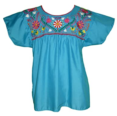 395fb1f0565fc Women s Puebla Mexican Blouse - Turquoise at Amazon Women s Clothing ...