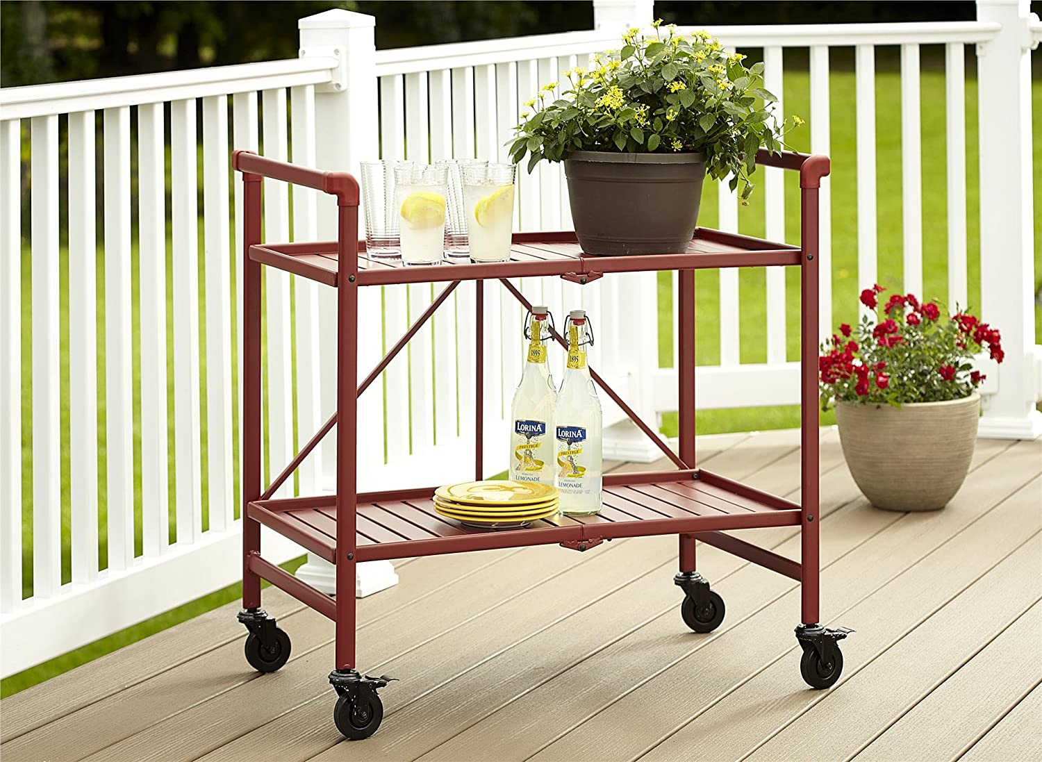 Cosco Indoor Outdoor Serving Cart, Folding, Ruby Red