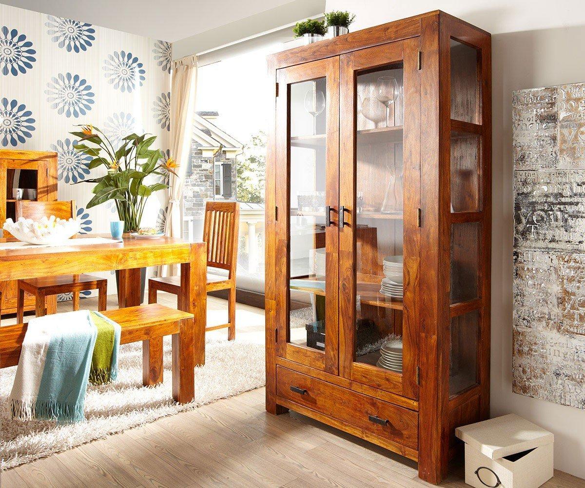 Vitrine Guru Akazie Honig 100x175 cm 1 Schublade 2 Türen by Wolf