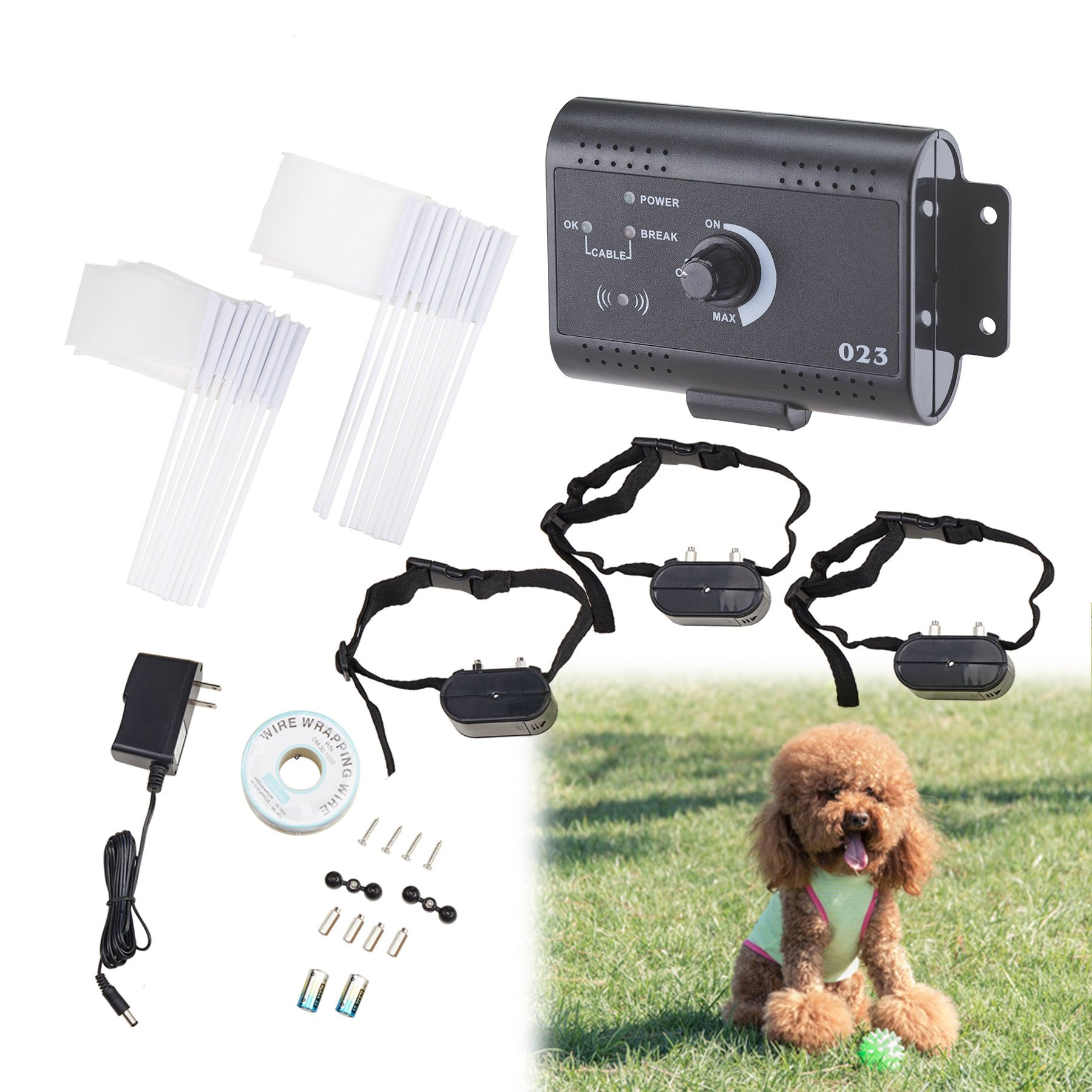 Happy Habor 3x Dog Training Electric Shock Collar for Pets with Fencing System Water Resistant,Over 1.2 Acres by Happy Habor