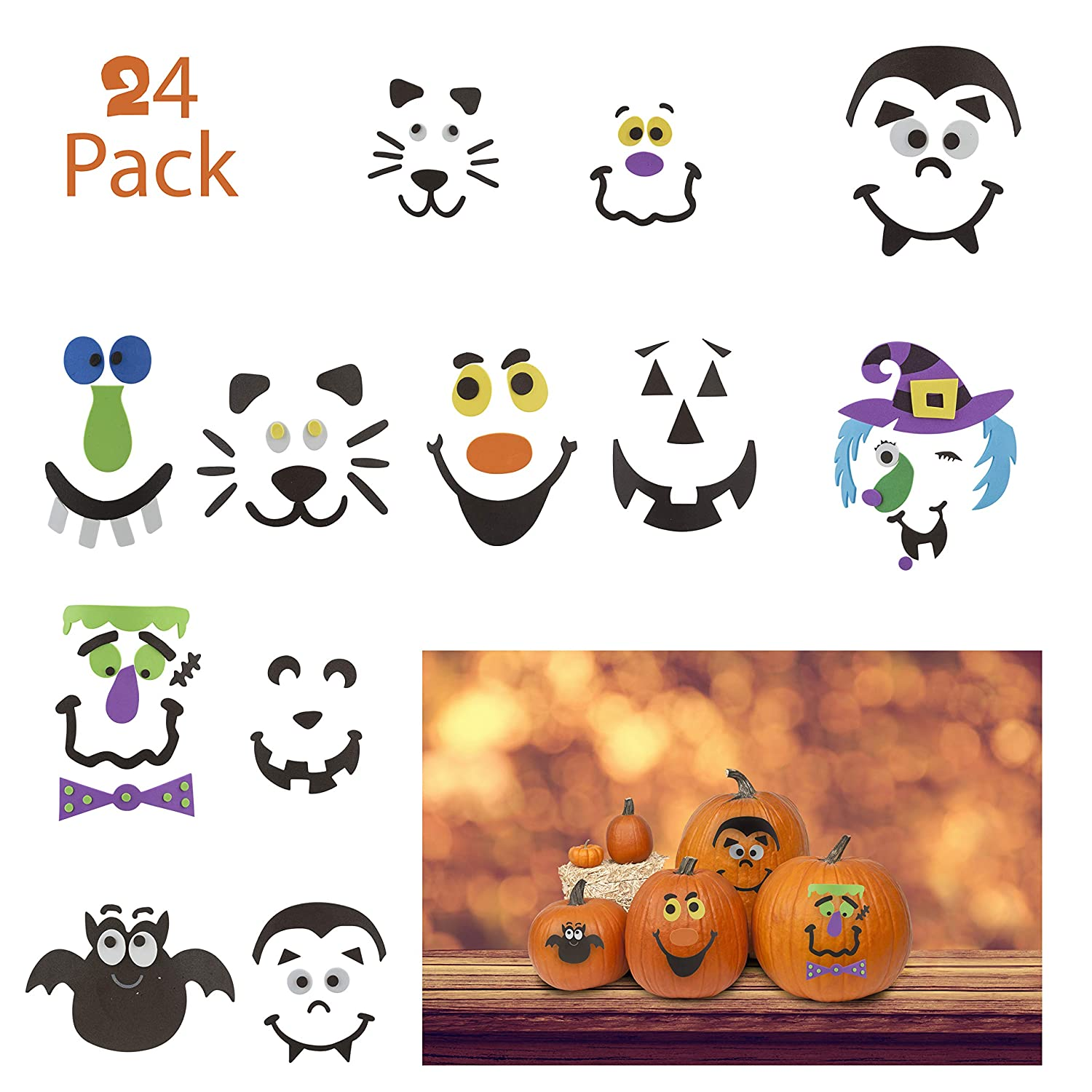 FAVONIR Halloween Pumpkin Decoration - 24 Pack Assorted Foam Decorating  Stickers – Kids Fun Craft Activity Supplies – Scary and Funny Characters –  for ...