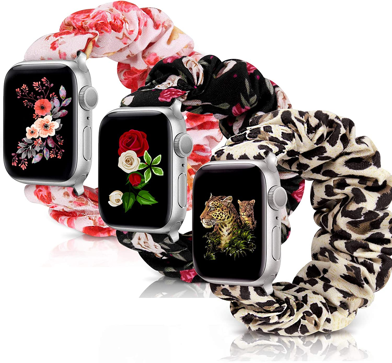 Compatible with Scrunchie Apple Watch Band 38mm 40mm 42mm 44mm, Soft Replacement Elastic Wristband Compatible for iWatch Series 5 4 3 2 1 (U-Leopard-Red White-PF-42-44 M)