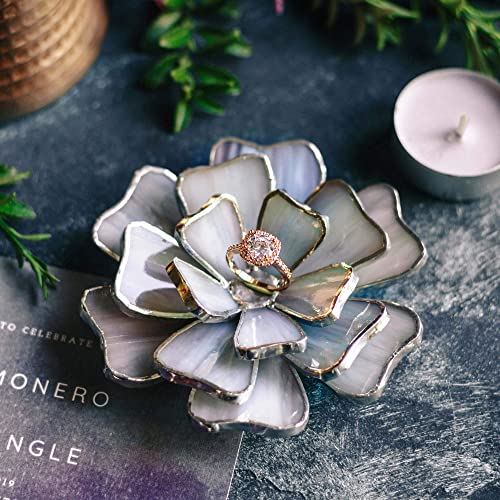 Wedding Ring Dish Anniversary Gift Floral Jewelry Dish Marbled Opalescent Glass Flower Ring Holder Engagement Ring Dish Valentines Day Gift Serenity Handmade