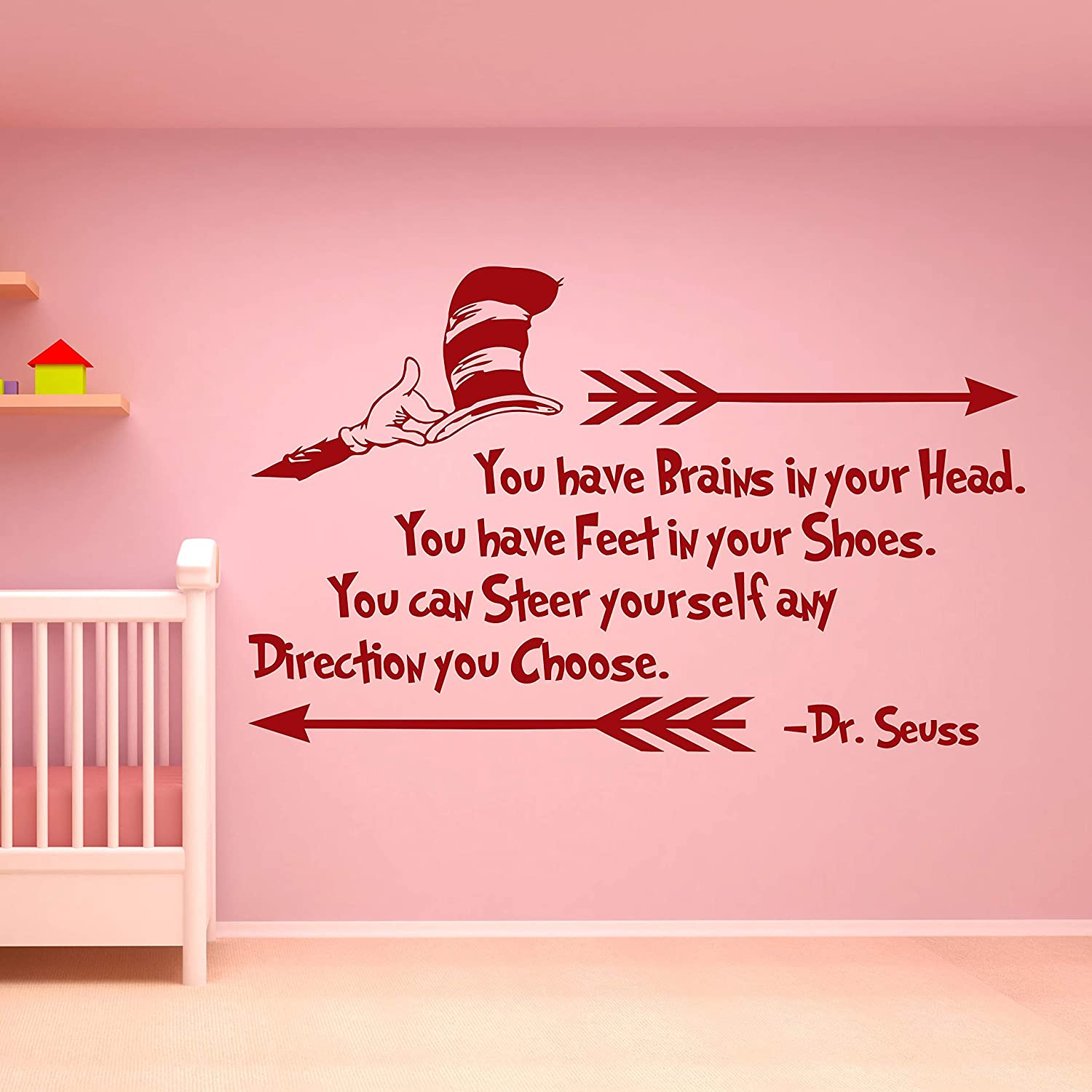 Dr Seuss Wall Decal Quote Vinyl Sticker Decals Quotes Oh The Places Youll Go Wall Decal Quote Wall Decor Nursery Bedroom Baby Room