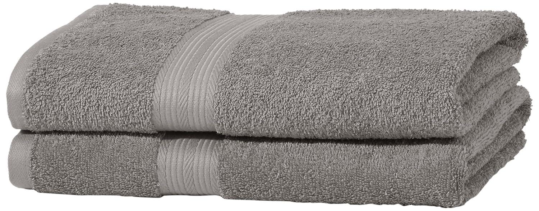 AmazonBasics - Juego de toallas (colores resistentes, 2 toallas de baño), color gris: Amazon.es: Hogar