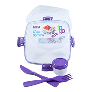 Sistema Salad To Go BPA Free Salad Container, Purple, 1-Pack