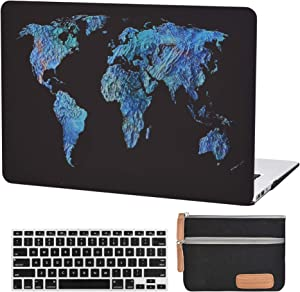 MacBook Air 13 inch Case A1369 A1466 Plastic Laptop Hard Shell Cover Matte Rubberized (Old Version 2010-2017) with Silicone Keyboard Cover and Small Electronics Accessories Pouch-3D World Map