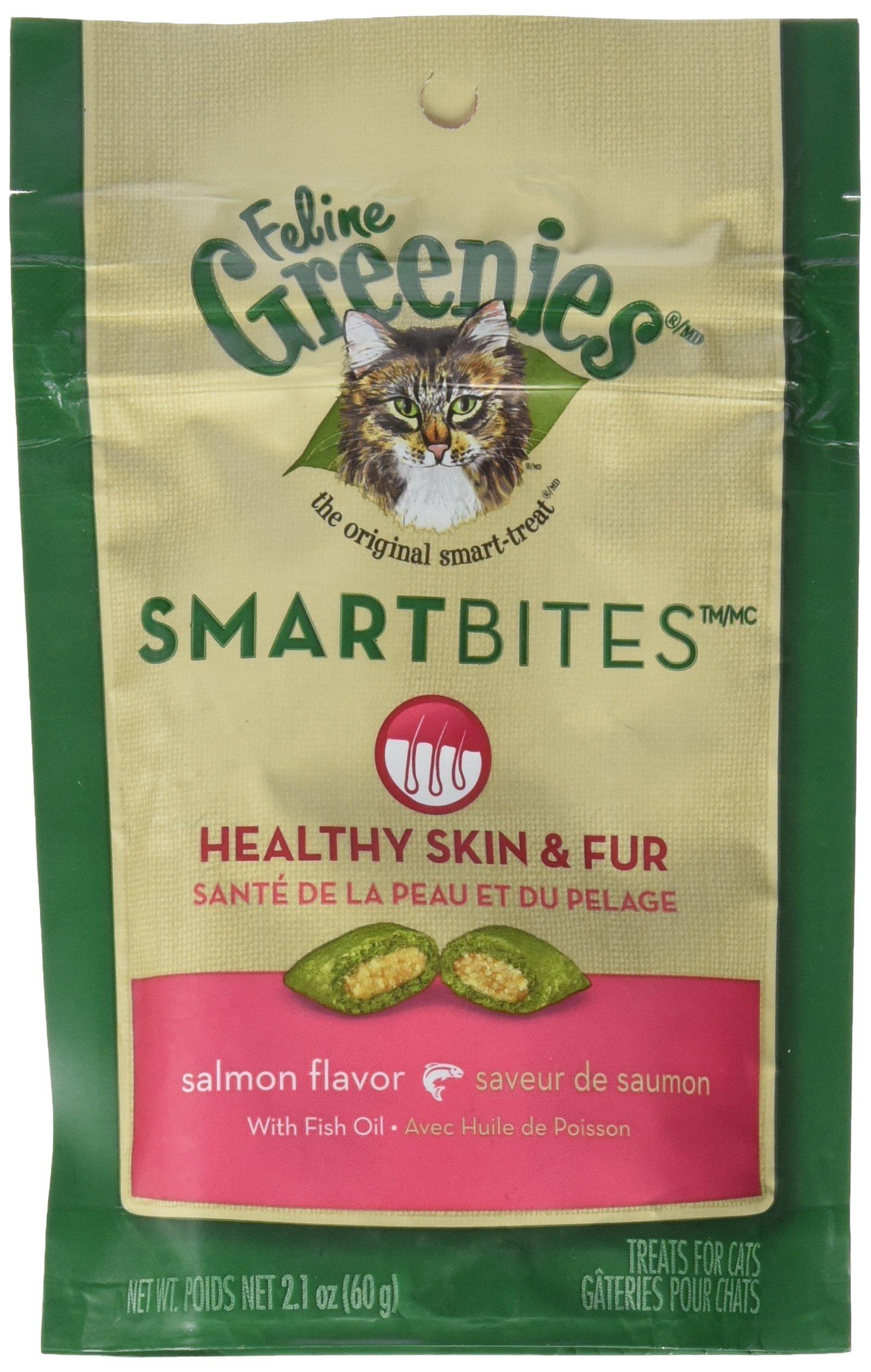 Greenies Feline SMARTBITES Skin & Fur Salmon 2.1oz - Six (6) Packages