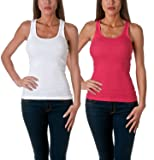 Sofra Women's Tank Top Cotton Ribbed 2 Pack