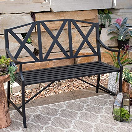 Awesome Amazon Com 4 Foot Black Metal X Back Outdoor Bench Modern Ibusinesslaw Wood Chair Design Ideas Ibusinesslaworg