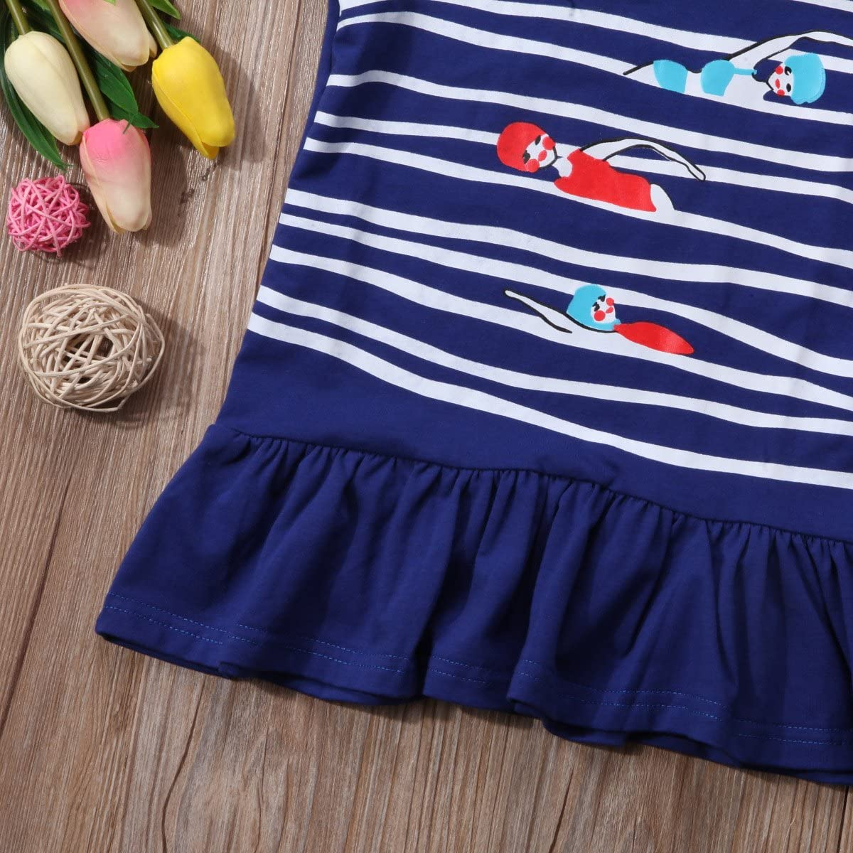 Littler Baby Girls Short Sleeve Sport Print Dresses Kids Girls Cotton Playwear Skirt Casual Sun Dresses