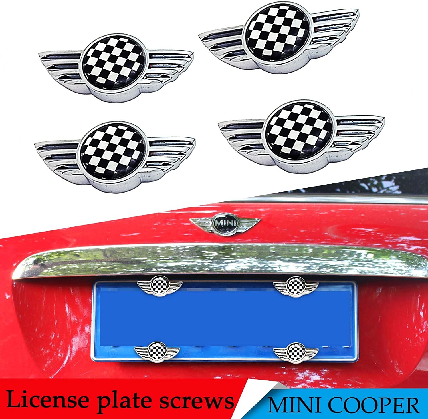Checkered YaaGoo License Plate Frame Bolt Screws Fasteners with Safety Screw Caps Fly Wing Design for Mini Cooper Universal Fit
