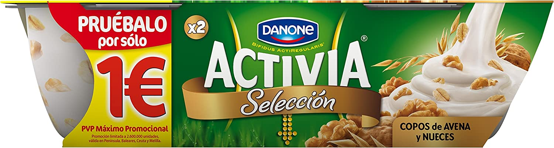 Activia - Yogur Danone Fibras Selección Copos Avena Y Nueces Pack 2 x 115 g: Amazon.es: Alimentación y bebidas