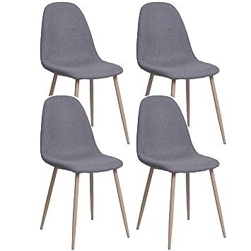 Miroytengo Pack 4 sillas de salón Tela Color Gris con Pata metálica Efecto Madera Silla diseño Moderno