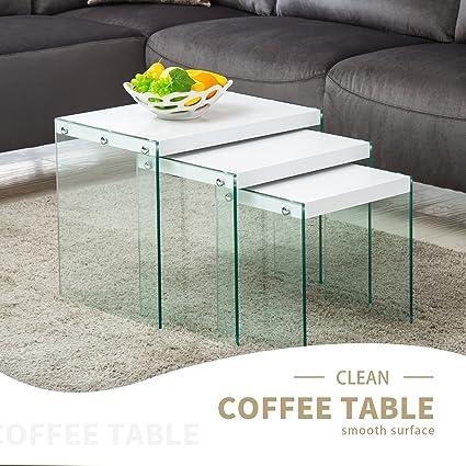 Amazon Com Mecor Nesting Table Set Of 3 Glass Side End Coffee Table