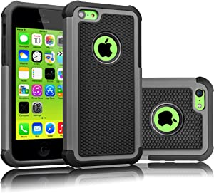 Tekcoo iPhone 5C Case, [Tmajor Series] [Gray/Black] Shock Absorbing Hybrid Impact Defender Rugged Slim Case Cover Shell for Apple iPhone 5C Hard Plastic Outer + Rubber Silicone Inner