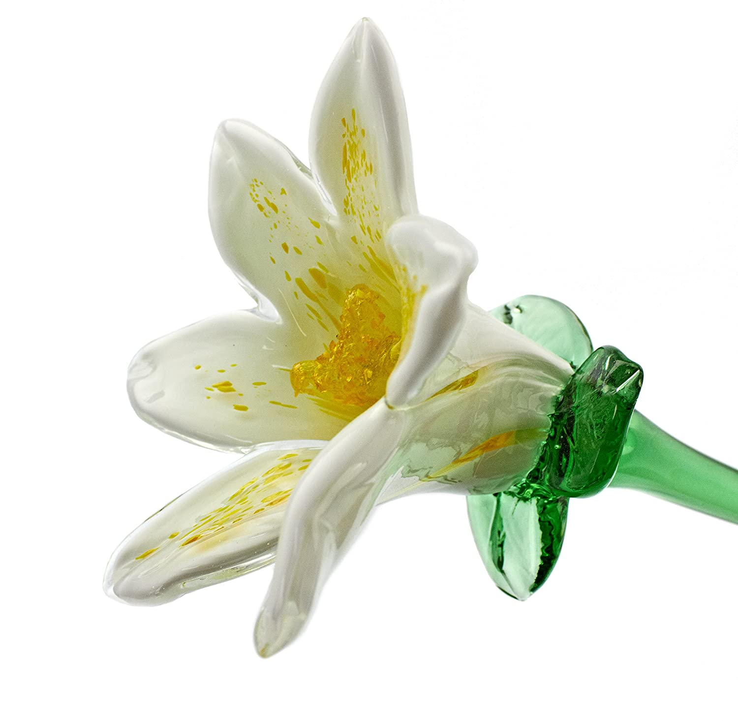 Amazon white glass lily flower one of a kind life size 20 amazon white glass lily flower one of a kind life size 20 long free shipping to the lower 48 when you spend over 3500 handmade izmirmasajfo
