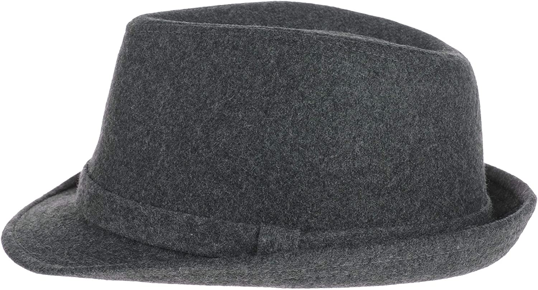 WITHMOONS Wool Felt Fedora Hat Simple Classic Monochrome Band SL6449