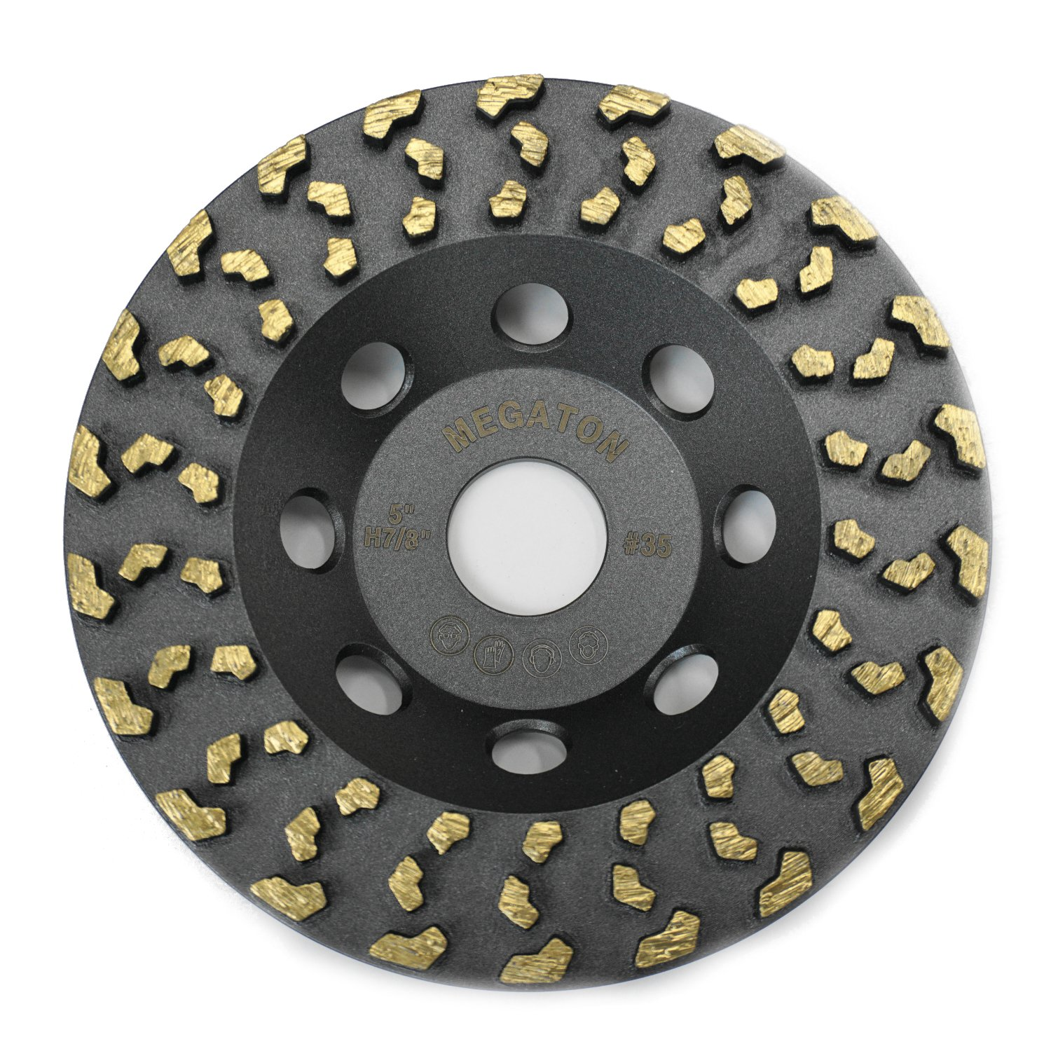 Megatron 5'' Diamond Cup Grinding Removing Disc Wheel for Any Concrete, Paint, Epoxy, Glue and Mastic with CDB Newest Technology (Megatron 5'')