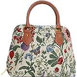 Signare Womens Fashion Canvas Tapestry Convertible Shoulder Handbag in Morning Garden Design