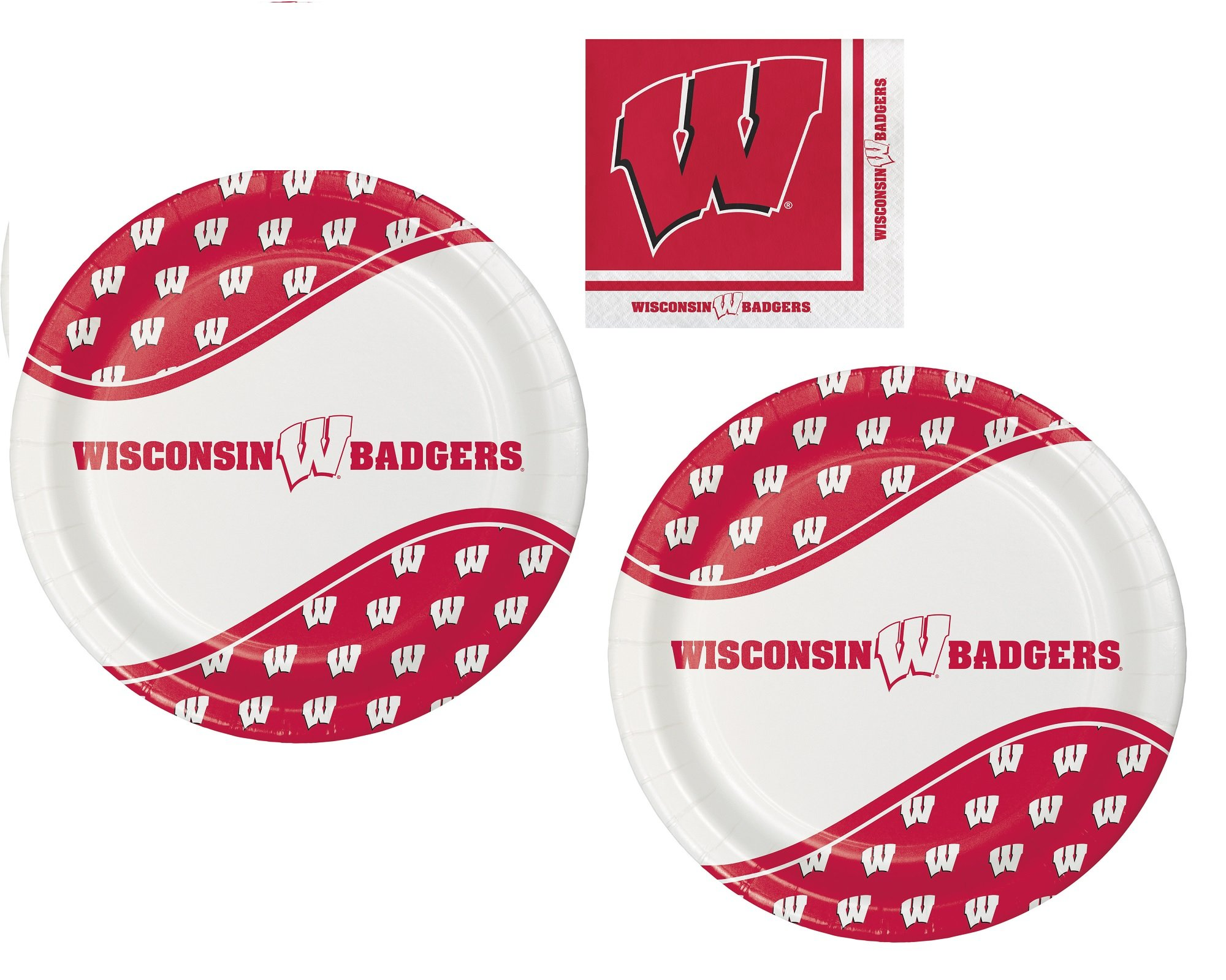 University of Wisconsin Plate and Beverage Bundle: 16 Dinner Plates and 20 Beverage Napkins