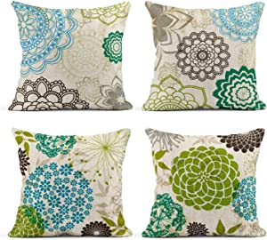 Tarolo Set of 4 Linen Throw Pillow Cover Case Sparklers Floral Patterns Decorative Pillow Cases Covers Home Decor Square 18 x 18 Inches Flower Pillowcases