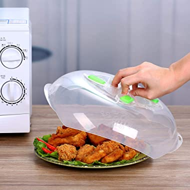 Microwave Plate Cover - Magnetic Hover Function | Microwave Lid Food Cover | Magnetic Microwave Splatter Lid with Steam Vents | 11.8 Inch & BPA-Free (Green)
