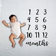 Baby Blanket- Baby Milestone Blanket- Newborn Milestone Bamboo Blanket- Soft and Warm Baby Blanket- Monthly 47  x 47  Blanket for Newborns- Perfect Baby Shower Gift