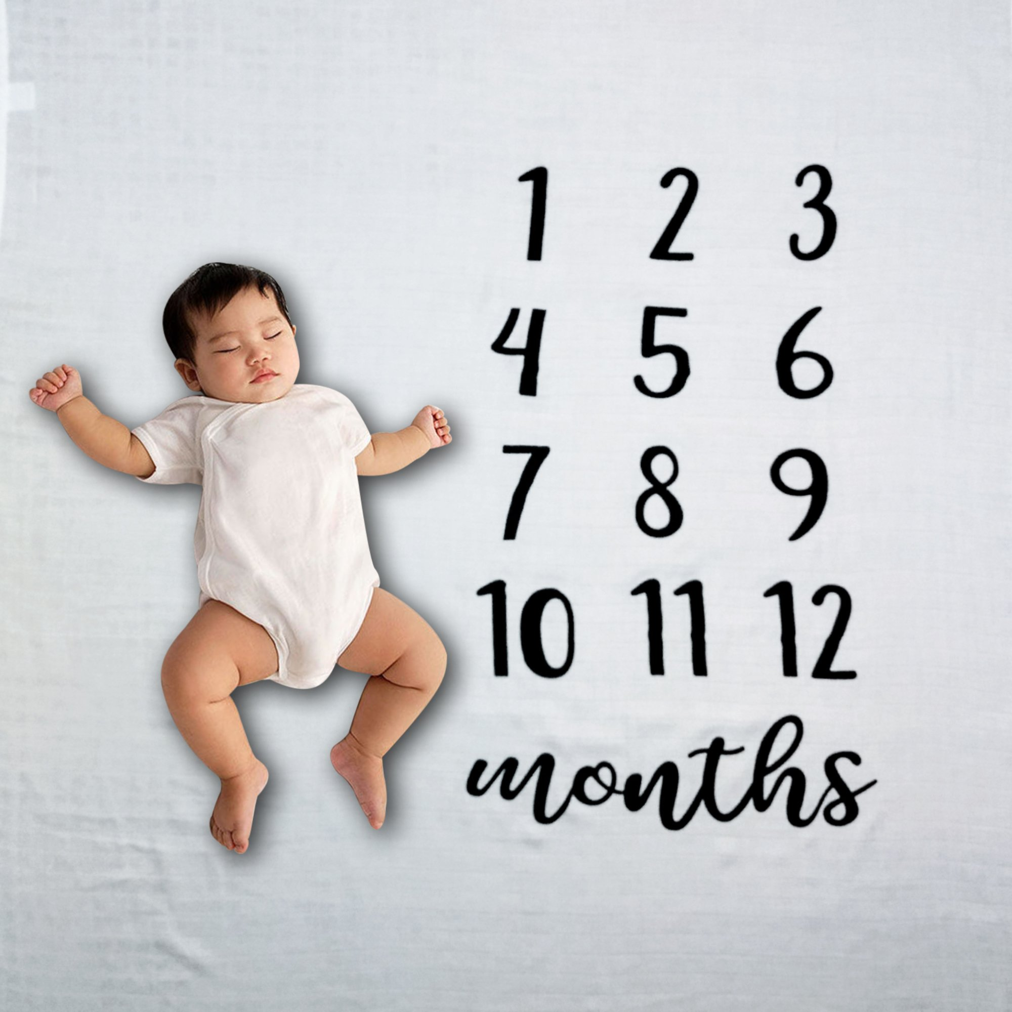 Baby Blanket- Baby Milestone Blanket- Newborn Milestone Bamboo Blanket- Soft and Warm Baby Blanket- Monthly 47'' x 47'' Blanket for Newborns- Perfect Baby Shower Gift