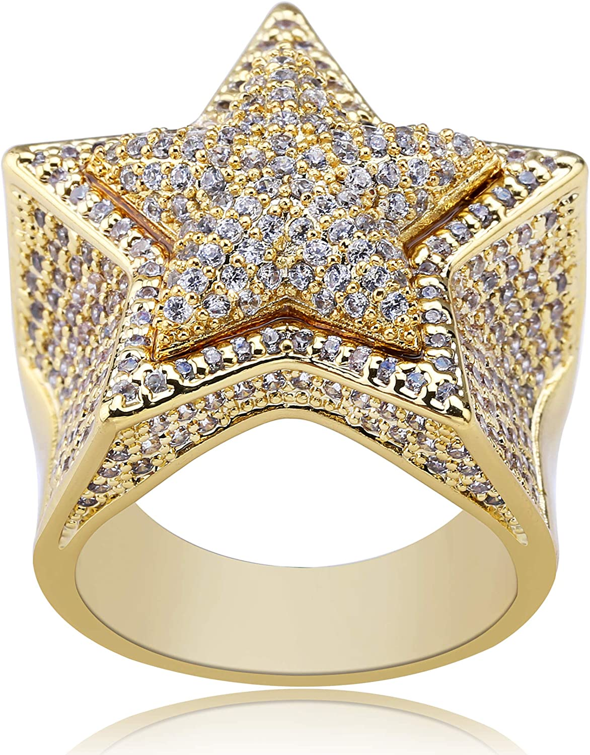 TOPGRILLZ 14K Gold Plated Iced Out CZ Simulated Diamond Flooded 3D Star Punky Rappers Ring for Men Engagement Hip Hop Jewelry