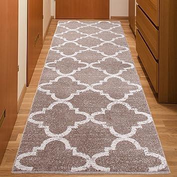flur teppich laufer modern bracke muster marokkanisch beige calm kollektion 100 x 300 cm waschbar