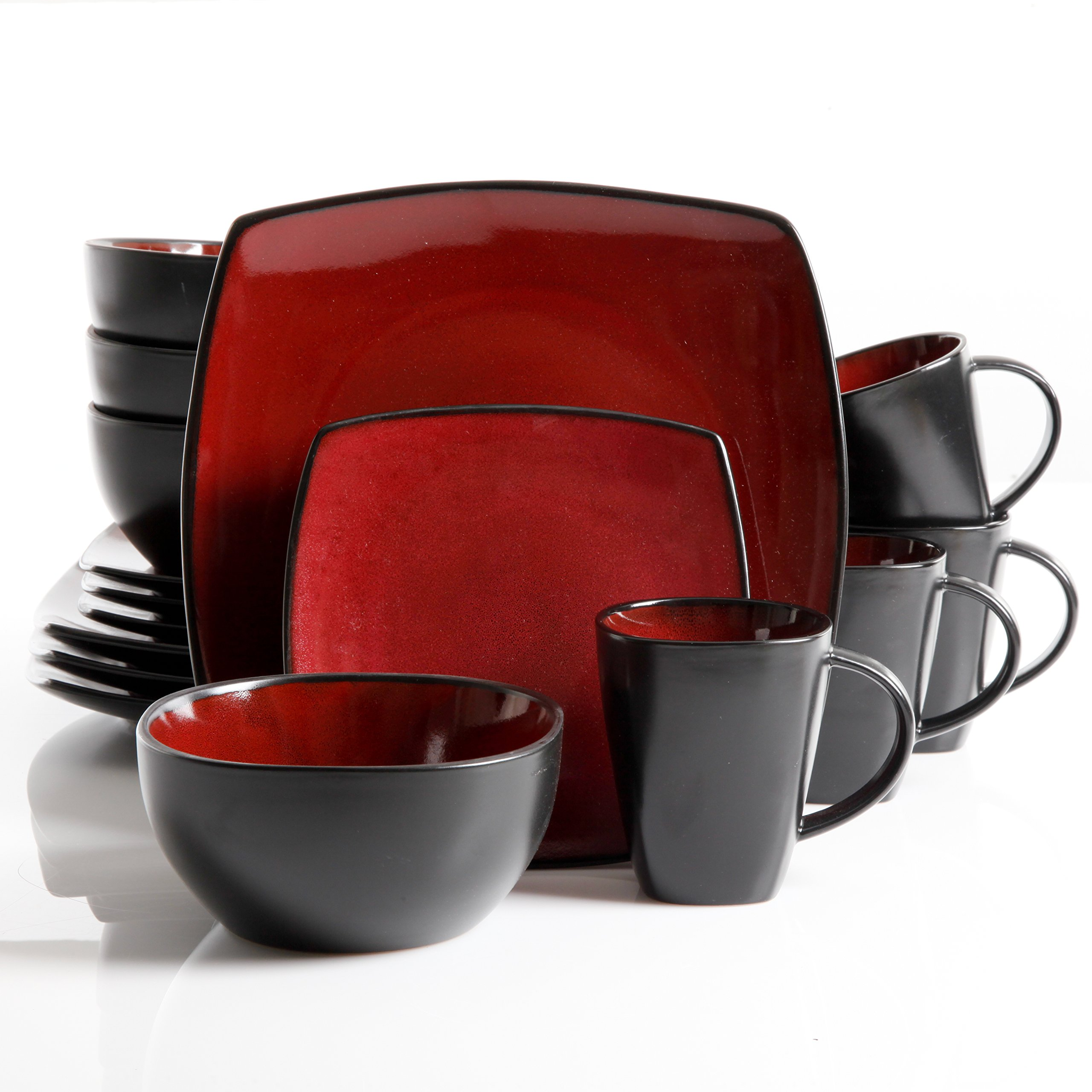 Gibson Elite 61220.16RM Soho Lounge 16-Piece Square Reactive Glaze Dinnerware Set, Red by Gibson (Image #3)