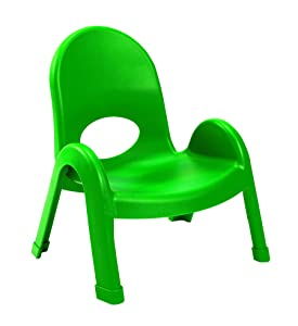 Children's Factory Angeles Value Stack Kids Chair, Preschool/Homeschool/Daycare Furniture, Flexible Seating Classroom Furniture for Toddlers, Green, 7""