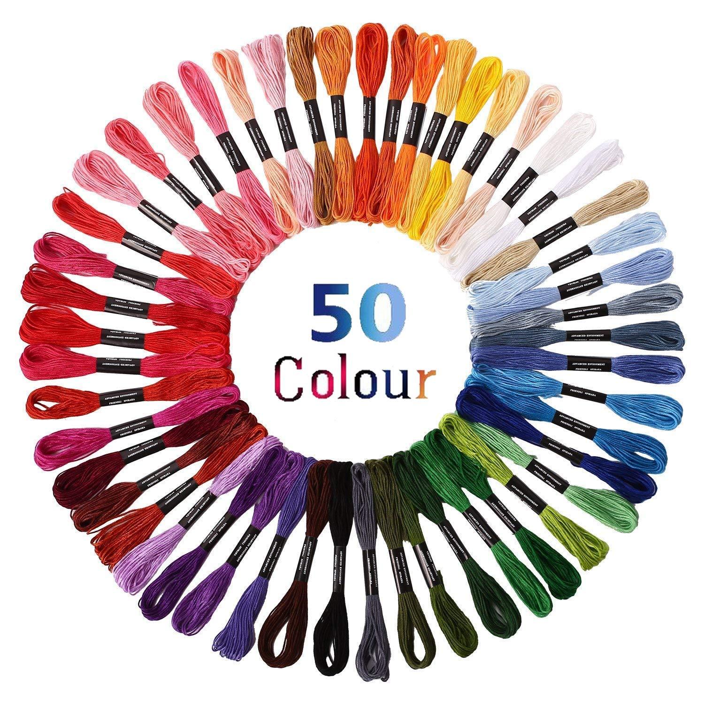 100 Docken Tinksky Stickgarn Sticktwist 8m 6-F/ädig mehrfarbigen Farblich Bunt Basteln