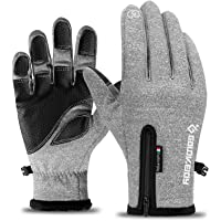 CZSH Waterproof Cycling Gloves Winter Motorbike Gloves Windproof Touch Screen Gloves for Man/Woman (M,Light Gray)
