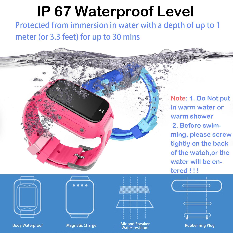 Amazon.com: Kids Waterproof Smartwatch with GPS Tracker - Boys & Girls IP67 Waterproof Smart Watch Phone with Camera Games Sports Watches Back to School ...