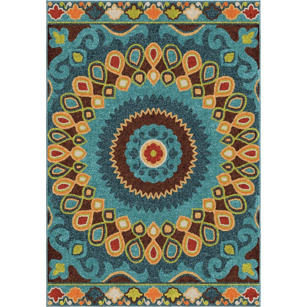 Amazon.com: Contemporary, Bohemian Style 5\' x 8\' Indoor/Outdoor ...