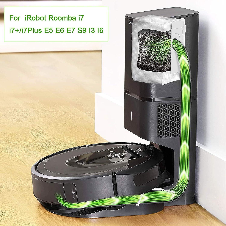 Rediboom Bolsas de aspiradora de repuesto para iRobot Roomba i7 i7+//i7 Plus E5 E6 E7 S9 6 unidades