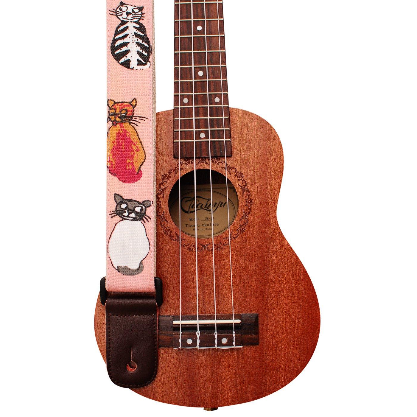 MUSIC FIRST Original Design''MISS CAT'' Soft Cotton & Genuine Leather Ukulele Strap Ukulele Shoulder Strap