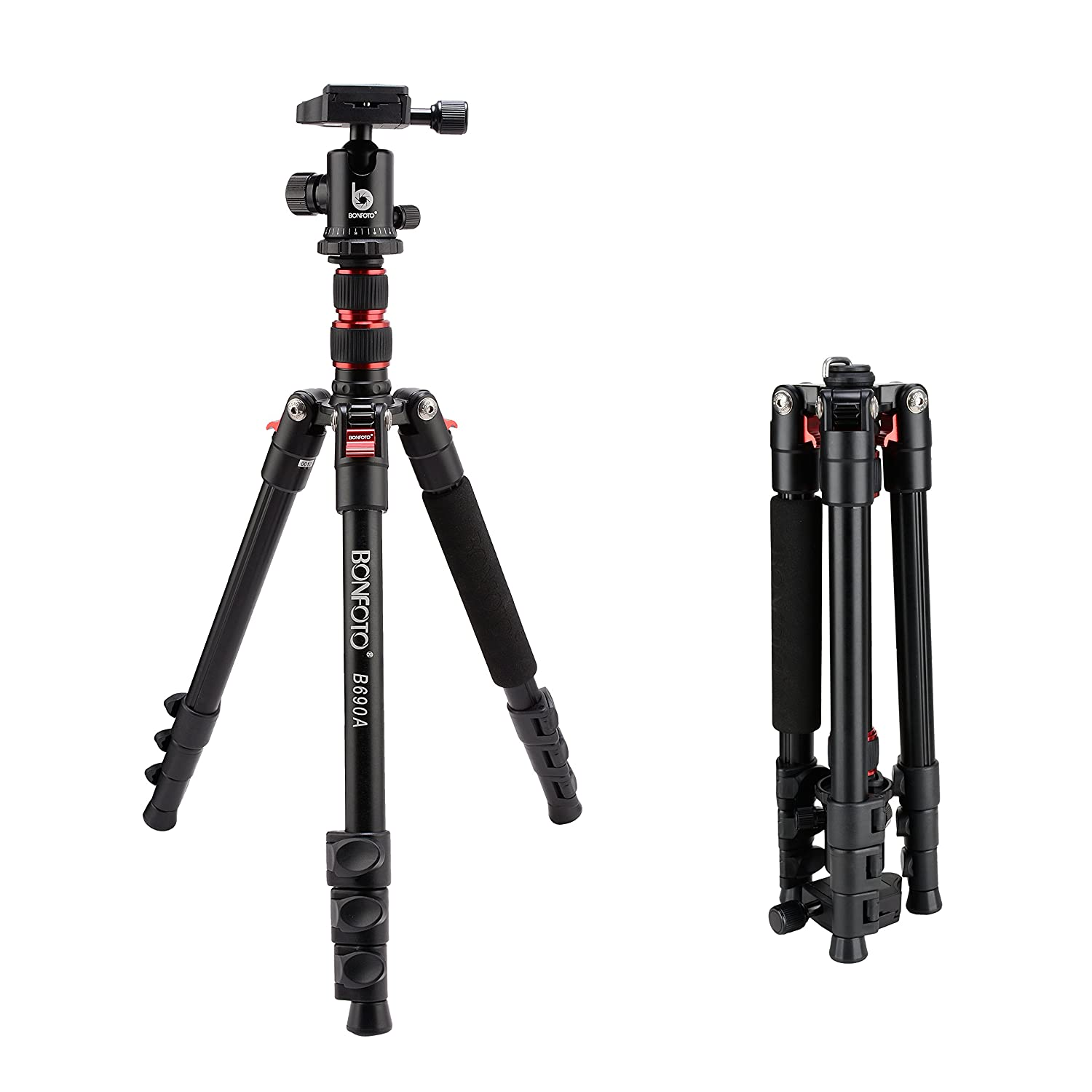 """BONFOTO B690A Aluminum Portable Heavy Duty Tripod With 1/4"""" Quick Release Plate, 360° Ball Head And Bubble Level For Canon/Nikon/Sony/DSLR Camera Very Suitable For Travel"""