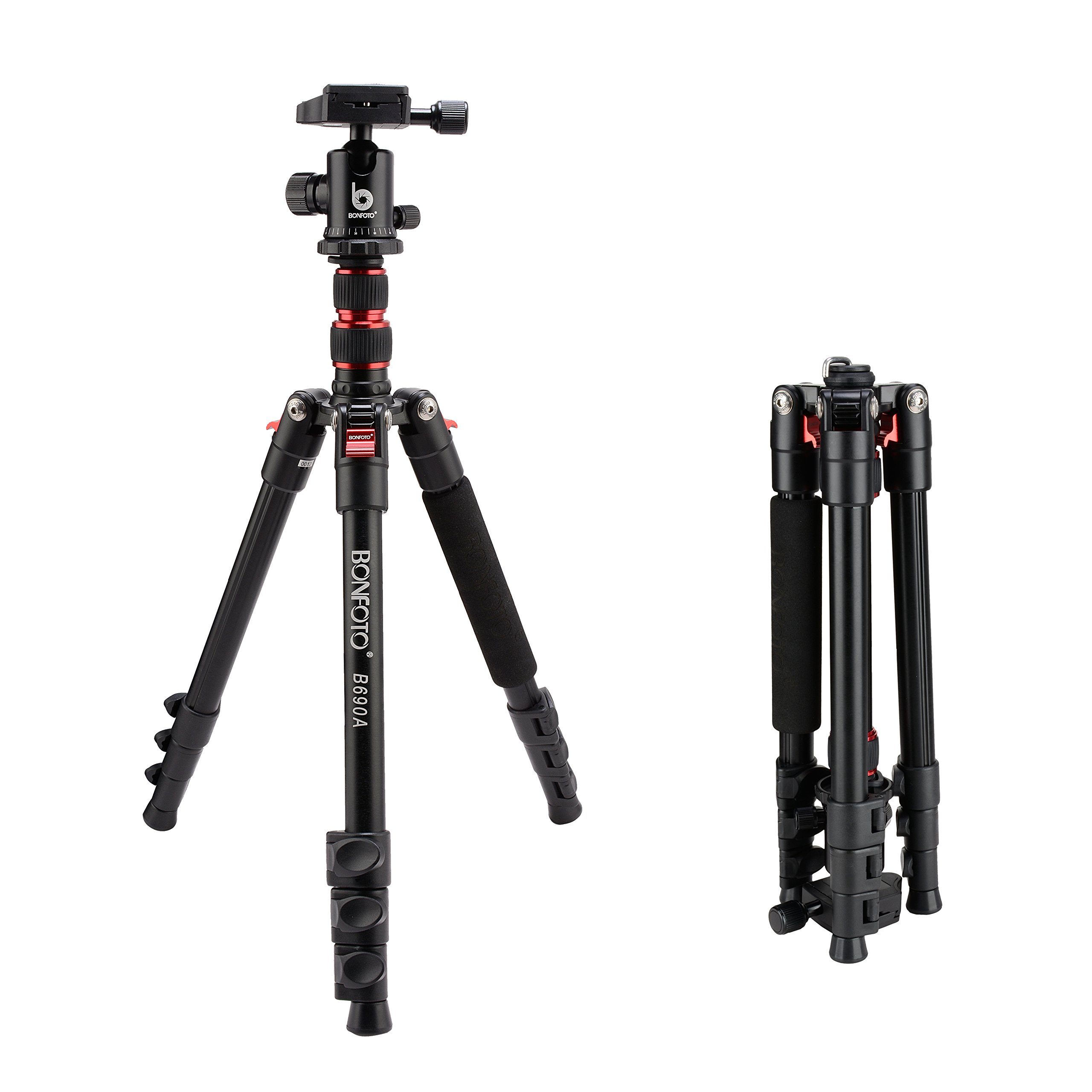 "BONFOTO B690A Portable Travel Tripod lightweight with 1/4"" Quick Release Plate, 360° Ball Head And Bubble Level For Canon Nikon Sony DSLR Camera"
