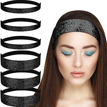 Gejoy 6 Pieces Glitter Headbands with Elastic Cord Stretchy Hairband Bling  Headbands for Girls Women Saint 6ee7508b579