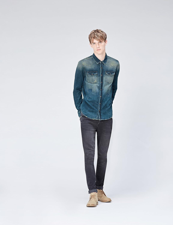 Marca Amazon - find. Camisa Vaquera Desgastada Hombre, Azul ...