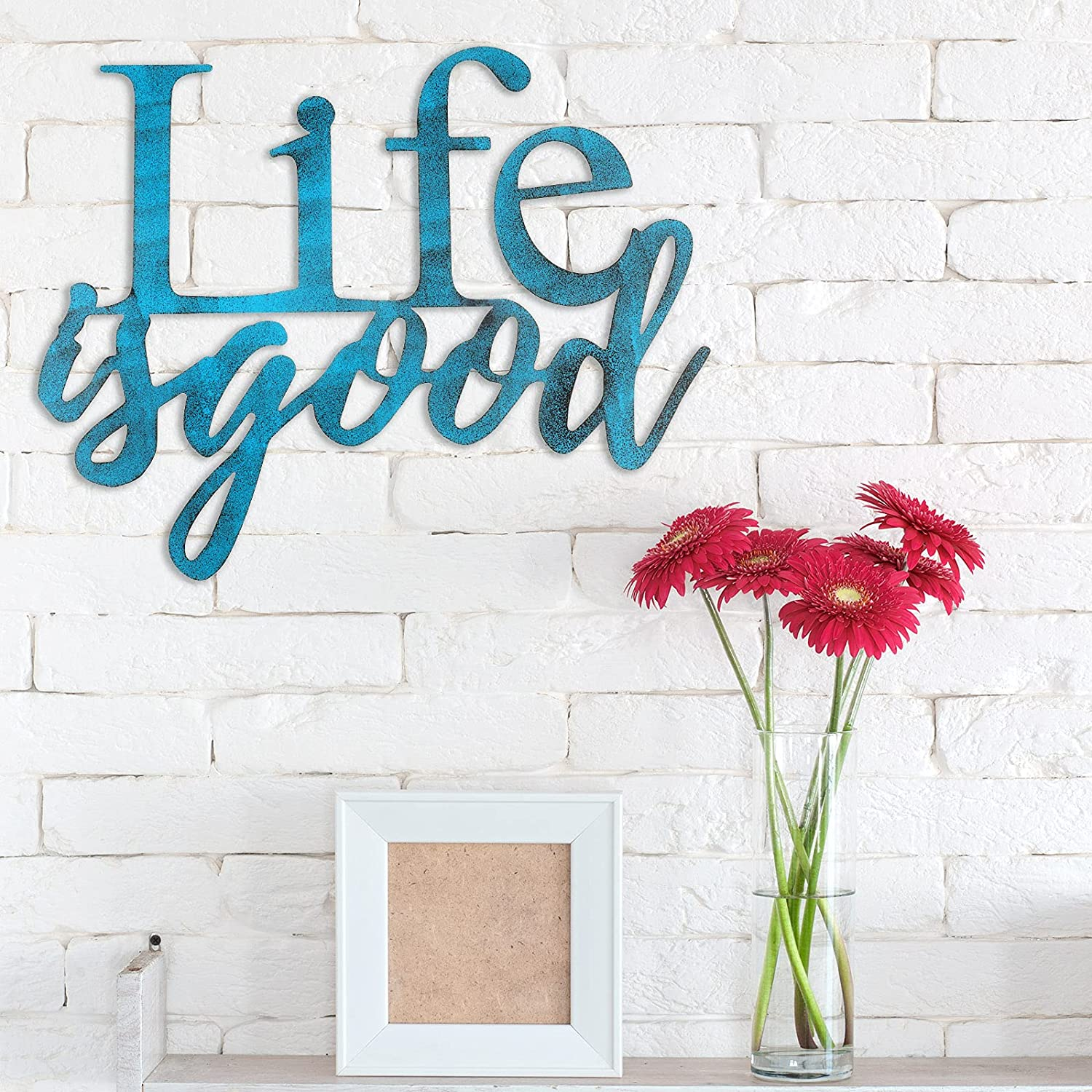 Life is Good Sign Metal Wall Art Sign 3D Word Art Sign Farmhouse Metal Cutout for Office Living Room Bedroom Kitchen
